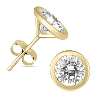 1 Carat TW AGS Certified Bezel Diamond Solitaire Stud Earrings in 14K Yellow Gold