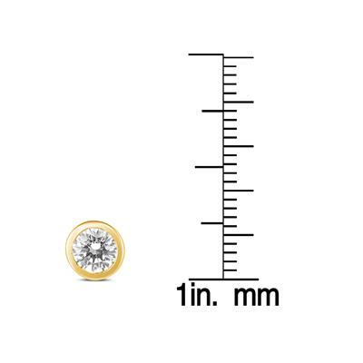1 Carat TW AGS Certified Bezel Diamond Solitaire Stud Earrings in 14K Yellow Gold