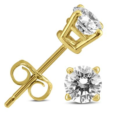 1/2 Carat TW AGS Certified (H-I Color, I2-I3 Clarity) Round Diamond Solitaire Stud Earrings in 14K Yellow Gold