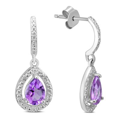 Amethyst and Diamond Dangle Drop Earrings in .925 Sterling Silver