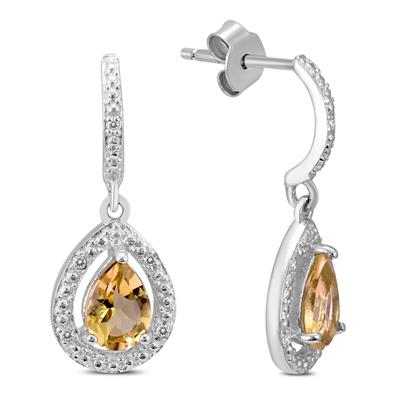 Citrine and Diamond Dangle Drop Earrings in .925 Sterling Silver