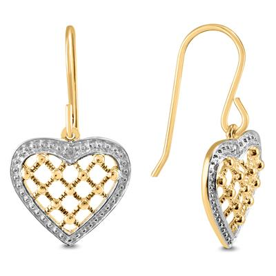 Diamond Accented Heart Shaped Earrings (Gold Plated 925)