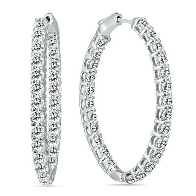 5 Carat TW Oval Diamond Hoop Earrings with Push Button Locks in 14K White Gold
