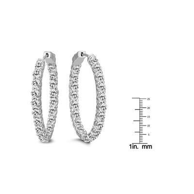 AGS Certified 10 Carat TW Oval Diamond Hoop Earrings with Push Button Locks in 14K White Gold