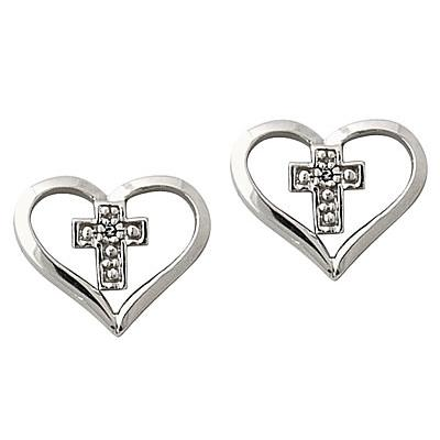 Diamond Heart and Cross Earrings in 10kt White Gold