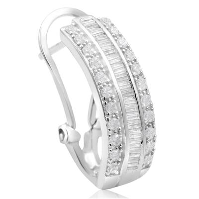 1 Carat Baguette and Round Diamond Hoop Earrings In .925 Sterling Silver