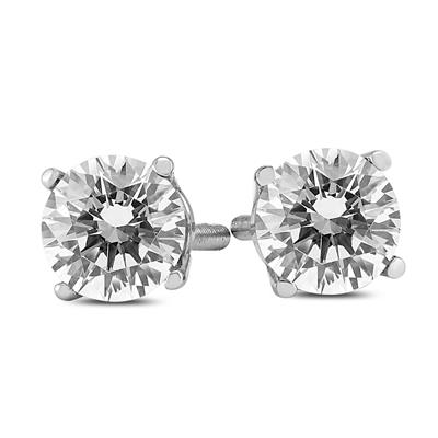 1 Carat TW Clarity Enhanced Diamond Solitaire Stud Earrings in 14K White Gold (I-J Color,SI1-SI2 Clarity)