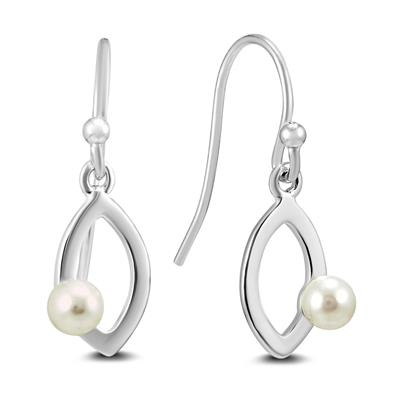 Freshwater White Cultured Pearl Drop Earrings in .925 Sterling Silver