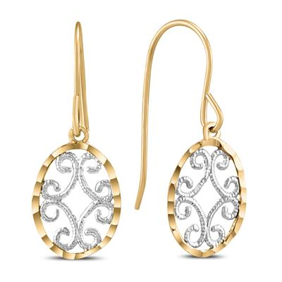 Oval Dangle Drop Earrings in 10K Yellow Gold with White