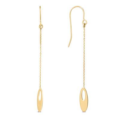 10K Yellow Gold Flat Oval Bead Chain Drop Earrings