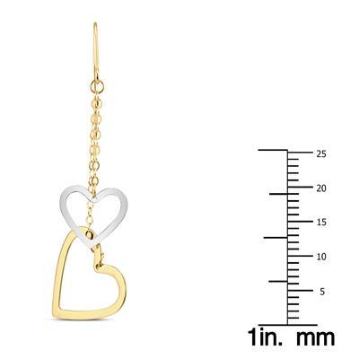 Double Heart Dangle Drop Earrings in 10K Two Tone Gold
