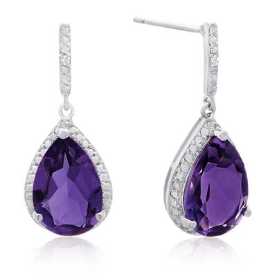 7 Carat Pear Shape Amethyst and Diamond Drop Earrings
