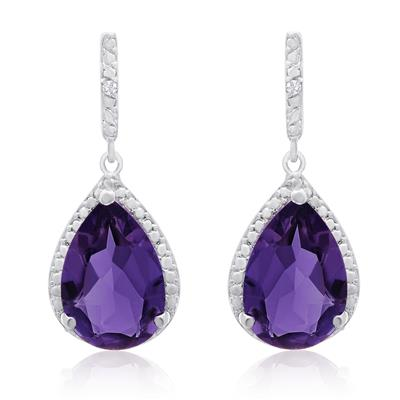 7 Carat Pear Shape Amethyst and Diamond Drop Earrings in Rhodium Plated Brass