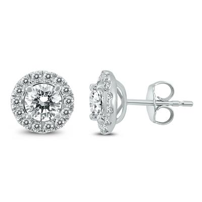 Signature Quality (H-I Color, SI1-SI2 Clarity)2 Carat TW Diamond Halo Earrings in 14K White Gold
