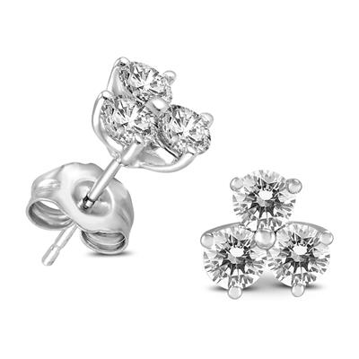1/2 Carat TW Three Stone Diamond Earrings in 14K White Gold