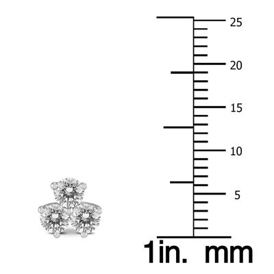 AGS Certified 1 Carat TW Three Stone Diamond Earrings in 14K White Gold