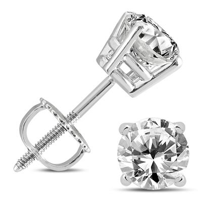 1 1/4 Carat TW Diamond Solitaire Earrings in 14K White Gold (H-I Color, I1 Clarity)