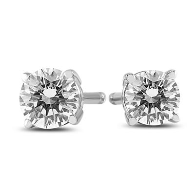 AGS Certified (J-K Color, SI1-SI2 Clarity) 1/4 Carat TW Round Diamond Solitaire Stud Earrings In 14k White Gold