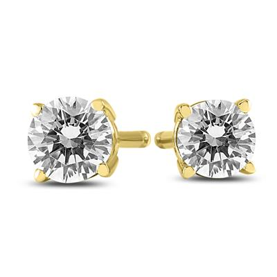 AGS Certified (J-K Color, SI1-SI2 Clarity) 1/4 Carat TW Round Diamond Solitaire Stud Earrings In 14k Yellow Gold
