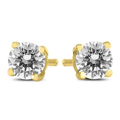 AGS Certified (J-K Color, SI1-SI2 Clarity) 3/8 Carat TW Round Diamond Solitaire Stud Earrings In 14k Yellow Gold