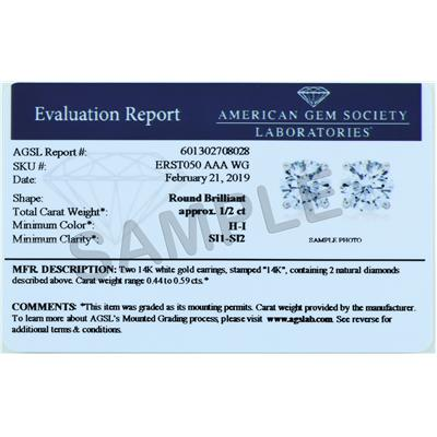 AGS Certified (H-I Color, SI1-SI2 Clarity) 1/4 Carat TW Round Diamond Solitaire Stud Earrings In 14K White Gold