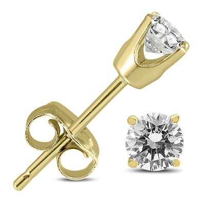 AGS Certified (H-I Color, SI1-SI2 Clarity) 3/8 Carat TW Round Diamond Solitaire Stud Earrings In 14K Yellow Gold