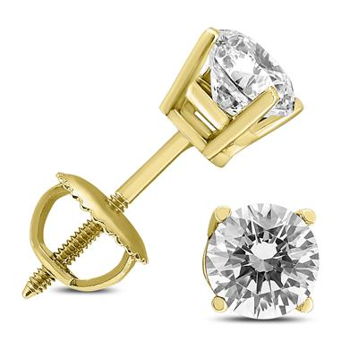 AGS Certified (H-I Color, SI1-SI2 Clarity) 3/4 Carat TW Round Diamond Solitaire Stud Earrings in 14K Yellow Gold