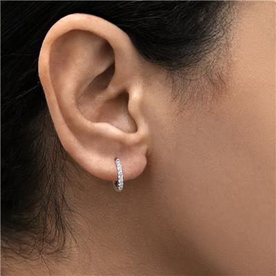 1/5 Carat TW Small Diamond Huggie Hoop Earrings in 10K White Gold