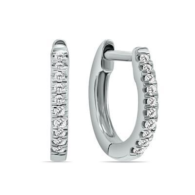 1/4 Carat TW Double Sided Small Diamond Hoop Huggie Earrings in 10K White Gold