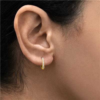 1/10 Carat TW Small Diamond Huggie Hoop Earrings in 10K Yellow Gold
