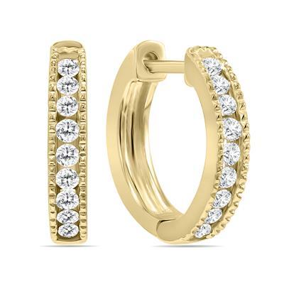 1/4 Carat TW Small Diamond Channel Set Huggie Hoop Earrings in 10K Yellow Gold