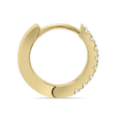 1/5 Carat TW Small Diamond Huggie Hoop Earrings in 10K Yellow Gold