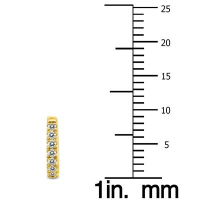 1/4 Carat TW Double Sided Small Diamond Hoop Huggie Earrings in 10K Yellow Gold