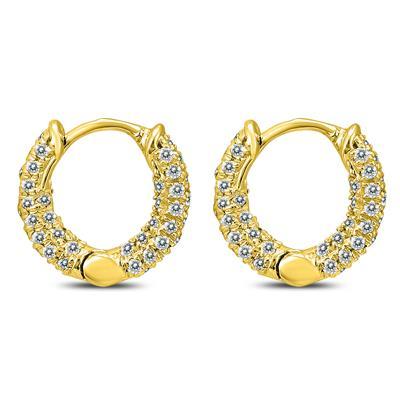 1/3 Carat TW Small Diamond Huggie Hoop Earrings in 10K Yellow Gold