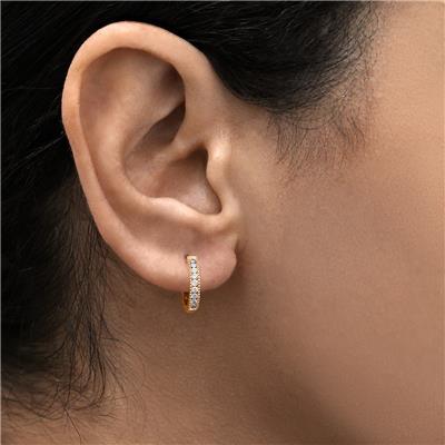 1/4 Carat TW Small Diamond Channel Set Huggie Hoop Earrings in 10K Rose Gold