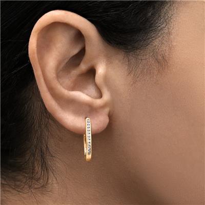 1/4 Carat TW Channel Set Diamond Hoop Earrings in 10K Rose Gold