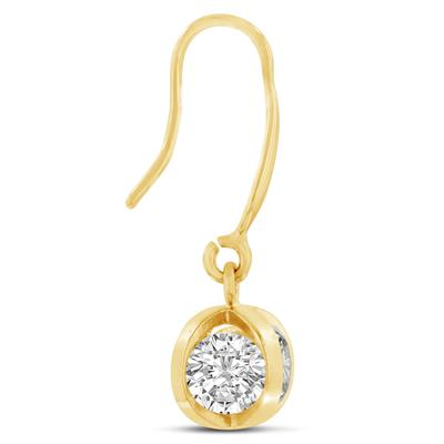 Swarovski Elements Crystal Basket Dangle Earrings, Yellow Gold Overlay, 1 Inch