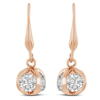 Swarovski Elements Crystal Basket Dangle Earrings, Rose Gold Overlay, 1 Inch