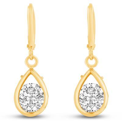 Swarovski Elements Crystal Pear Shape Drop Earrings In Yellow Gold Overlay, 3/4 Inch