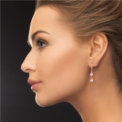Swarovski Elements Crystal Double Drop Earrings In Rose Gold Overlay, 1 1/2 Inches