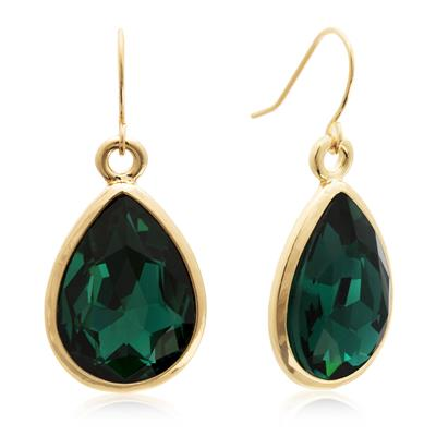Pear Shape Green Crystal Earrings with Gold Overlay