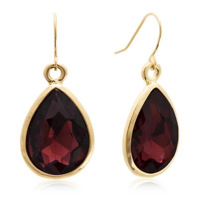 Szul Pear Shape Marsala Crystal Earrings with Gold Overlay