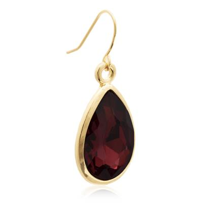 Pear Shape Marsala Crystal Earrings with Gold Overlay
