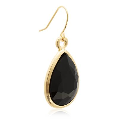 Pear Shape Black Crystal Earrings with Gold Overlay