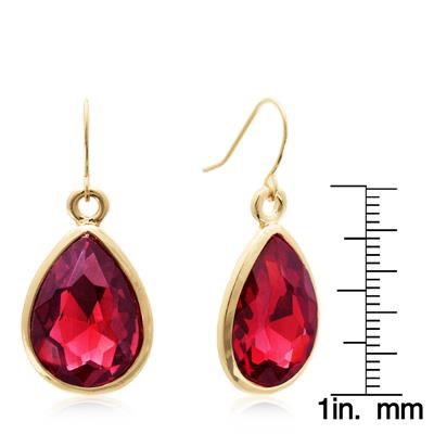 Pear Shape Red Crystal Earrings with Gold Overlay
