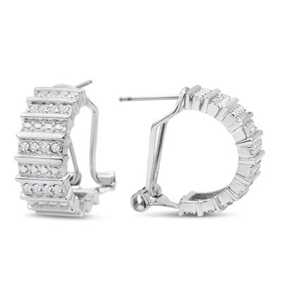 1/2 Carat Wide-Heavy Diamond Omega Hoop Earrings, 1/2 Inch