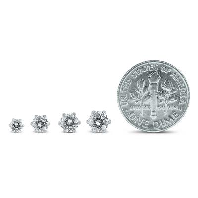 3/4 Carat TW 6 Prong Round Diamond Solitaire Stud Earrings In 14k White Gold