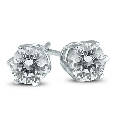 1 Carat TW 6 Prong Round Diamond Solitaire Stud Earrings In 14k White Gold
