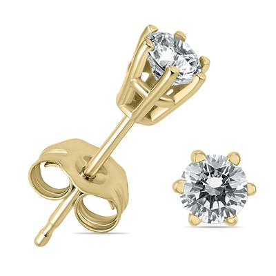 38f818335 SOLITAIRE EARRINGS. SAVE 68%. 1/4 Carat TW 6 Prong Round Diamond Solitaire  Stud Earrings In 14k Yellow Gold