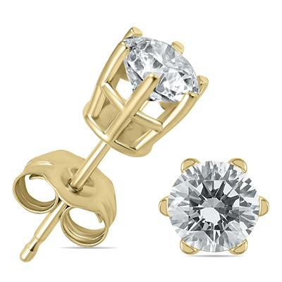 cc3726254 SOLITAIRE EARRINGS. SAVE 59%. 1 Carat TW 6 Prong Round Diamond Solitaire  Stud Earrings In 14k Yellow Gold